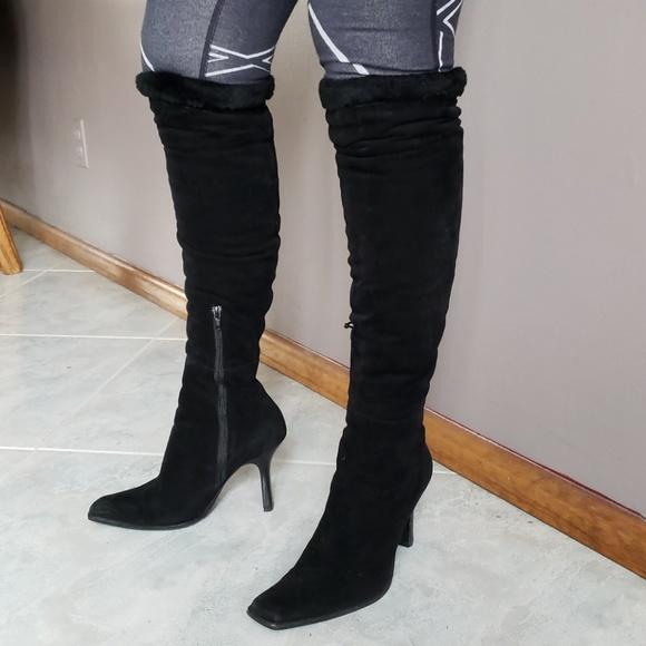 Boots Casadei Over Knee Suede Shearling Heel Block HWE2ID9